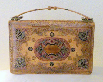 Vintage Heavily Embossed Italian Made Leather Clutch Handbag