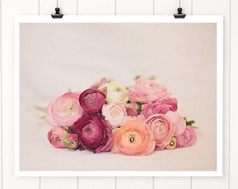Flower photography, nature print,  floral wall art, pink flowers, Flower Still Life Coral Ranunculus, Nursery Wall Art Print, Nursery Decor