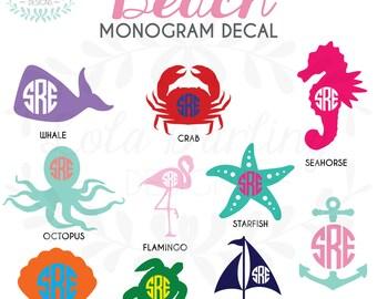 "Beach Monogram Vinyl Decal 2""-6"""