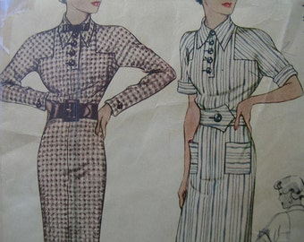 Fabulous Vintage 30s LONG LEAN LINE Misses Dress Pattern