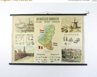 Vintage Pull Down School Chart, Benelux Countries