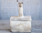 Earthy Mini Cat Box - Rustic Pit Fired Slab Box with Bast Cat on Top - Gift under 20 dollars for Him or Her