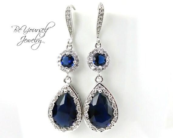 Sapphire Bridal Earrings Blue Teardrop Bride By