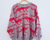 1980s Australia Kangaroo Sweater Gray Red Ski Crewneck Pullover Womens Mens Vintage Large