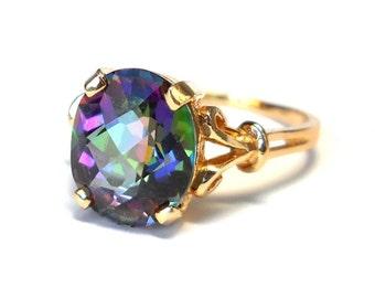 Vintage 14K Gold Mystic Topaz Ring