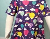 12-24 month Rainbow Hot Air Balloon Organic Cotton Knit Tee Dress
