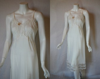 1940s Artemis White Wedding Rayon Slip, 34, Small, Medium, New Old Stock