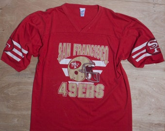 XL | San Francisco Forty Niner's V Neck Football T Shirt Soft & Distressed