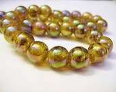 Glass Transparent Electroplated Beads Golden Brown Round 10MM