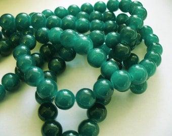 Jade Glass Beads Dark Teal Round 10MM