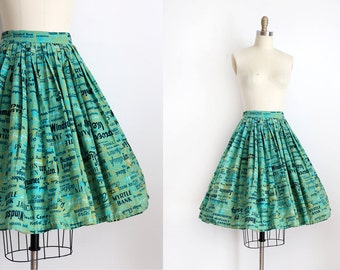 vintage 1950s skirt // 50s novelty Jamaican tourist skirt