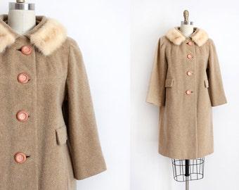 SALE vintage 1960s coat // 60s wool coat with fur collar