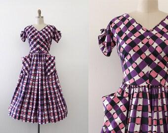 vintage 1950s Jonathan Logan dress // 50s purple cotton day dress