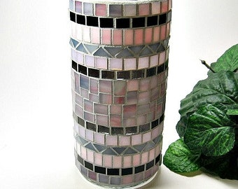 Stained glass mosaic vase or pillar candle holder blue green