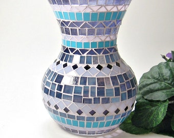Stained glass mosaic vase purple blue handmade