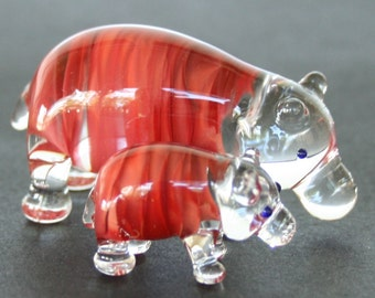 GLASS HIPPO SET Handcrafted in Australia Glass animal