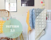 Filet crochet baby blanket --> english PDF PATTERN