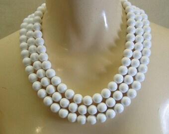 1980's  3 Strand White Plastic Bead Bib Necklace, Monet, MINT