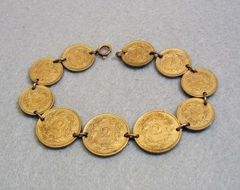 Very Old Swiss Coin Charm Bracelet, 1919-1941