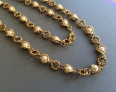 Pretty in Pearl and Decorative Round Gold Link Necklace