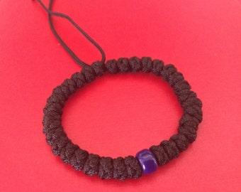 Super Sturdy Nylon Prayer Bracelet With Solid Blue Bead