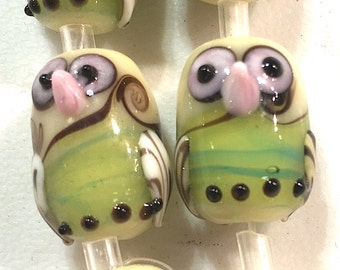 10 Owl Beads, Animal Beads, Handmade Lampwork Glass Beads