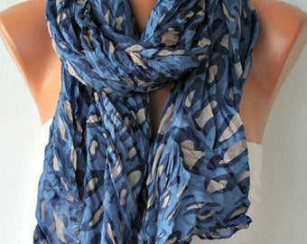 Blue Leopard Print Scarf,Camouflage Shawl, Fall Scarf,Cowl Scarf Gift Ideas For Her, Women Fashion Accessories,Christmas Gift