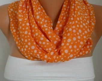 Orange White Polka dot Chiffon Infinity Scarf Valentine's Gift Cowl Circle Scarf Loop Scarf  Gift Ideas For Her Women Fashion Accessories