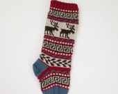 Reindeer Christmas Stocking Knitted Red Holiday Xmas Christmas Stocking Fair Isle Stranded Knit Home Decoration Ornament (Ready to Ship) LRR