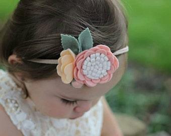 Wool Felt  Rose Cluster Headband or Hairclip-Blush and Peach On Nylon Headband-Baby Headbands-Newborn Headbands-Baby Flower Headband