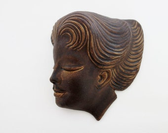 Mid century Pottery Sculpture Sleeping Beauty Face