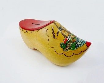 Vintage Wooden Clog Money Bank Souvenir from Holland