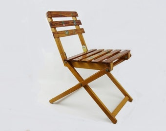Vintage Kid's Folding Chair Made of Wood