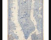 New York City Map 1944 New York City Manhattan Street Map Vintage Blueprint  Grunge