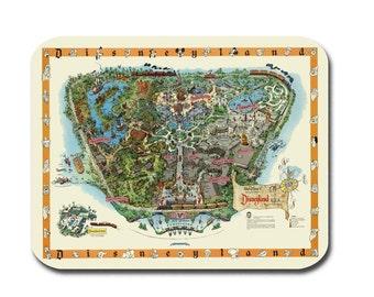 Disneyland Map - Disney Map - Mouse Pad - Panoramic Birds Eye View Map of Disneyland