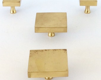 Vintage Brass Square Drawer Pulls / Mid Century Modern Brass Pulls / Square Knobs