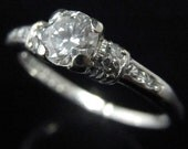 Vintage Engagement Ring Transition Cut Diamond Platinum Bridal Estate c.1936