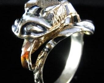 Antique Snake Serpent Diamond Enamel 18k Yellow Gold Ring Vintage Estate
