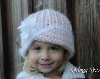 """CROCHET HaT PATTERN: """"Vintage Twist"""", Crochet Cloche, Fabric Flower"""