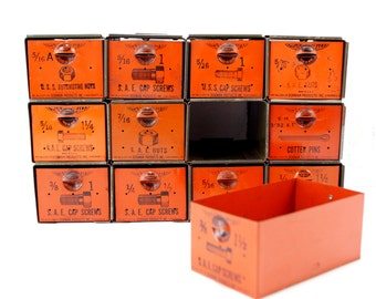 Vintage Dorman Parts Drawer Hardware Bin with 12 Drawers in Rustic Orange (c.1950s) - Industrial Storage, Urban Loft Decor, Vintage Office