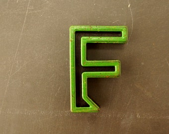 "Vintage Industrial Letter ""F"" Black with Green and Light Orange Paint, 2"" tall (c.1940s) - Monogram Display, Shadow Box Letter, Art"