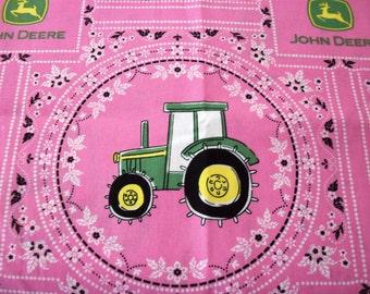 John Deere Fabric Pink Background Always a Dear New Fat Quarter BTFQ