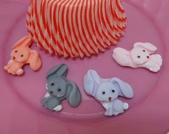 24 Edible Fondant Rabbits for mini  Cupcake, Cookies, Cake Pops or any decoration need, you choose the colors