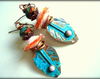 Rustic, Feather, Phosphosiderite, Artisan Copper Headpins, Light Pink Turquoise Earrings, Artisan Lampwork Earrings, Earthy, OOAK