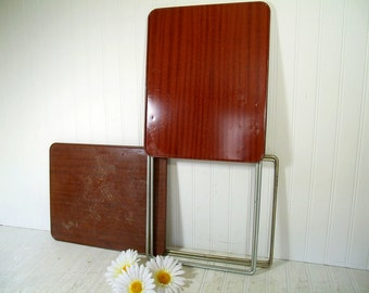 Set of 2 Vintage Durham Handy Tables - Space Saving Folding Metal TV Tray Tables Pair - MidCentury 2 Occasional Tables / Retro Side Tables