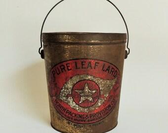 Vintage Prim Tin With Lid And Bail Handle, Rustic Farmhouse Decor, Primitive Decor, Old Pure Leaf Lard Tin