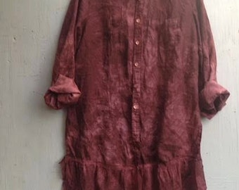 Love hand dyed burgundy plum linen vintage lace embroidery gypsy rustic prairie girl blouse tunic shirt