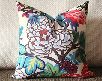 chinese Dragon Flowers Pillow Cover in Alabaster 386