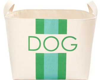 Dog Canvas Storage Basket, Blue/Green Stripes