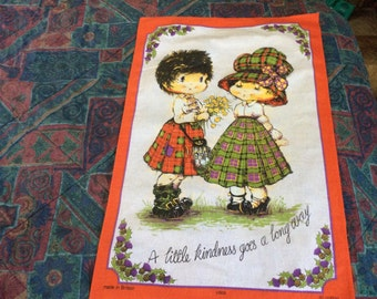 Cotton Great Britain Scottish Scotland linen hand towl dish towel  tea towel Children in kilts A little kindness goes a long way